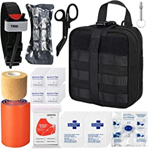 TOUROAM Tactical Emergency First Aid Medical Kit-MOLLE Admin Pouch IFAK-Wound Dressing Blood Control EMT Survival Trauma Kit-Camp Travel Car Medic Kit