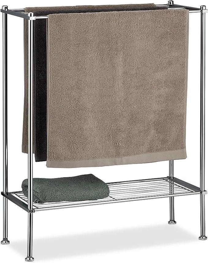 Relaxdays Silber Handtuchhalter Chrom 3 Handtuchstangen Ablage Handtuchregal stabil & rostfrei HBT 79x64x26 cm