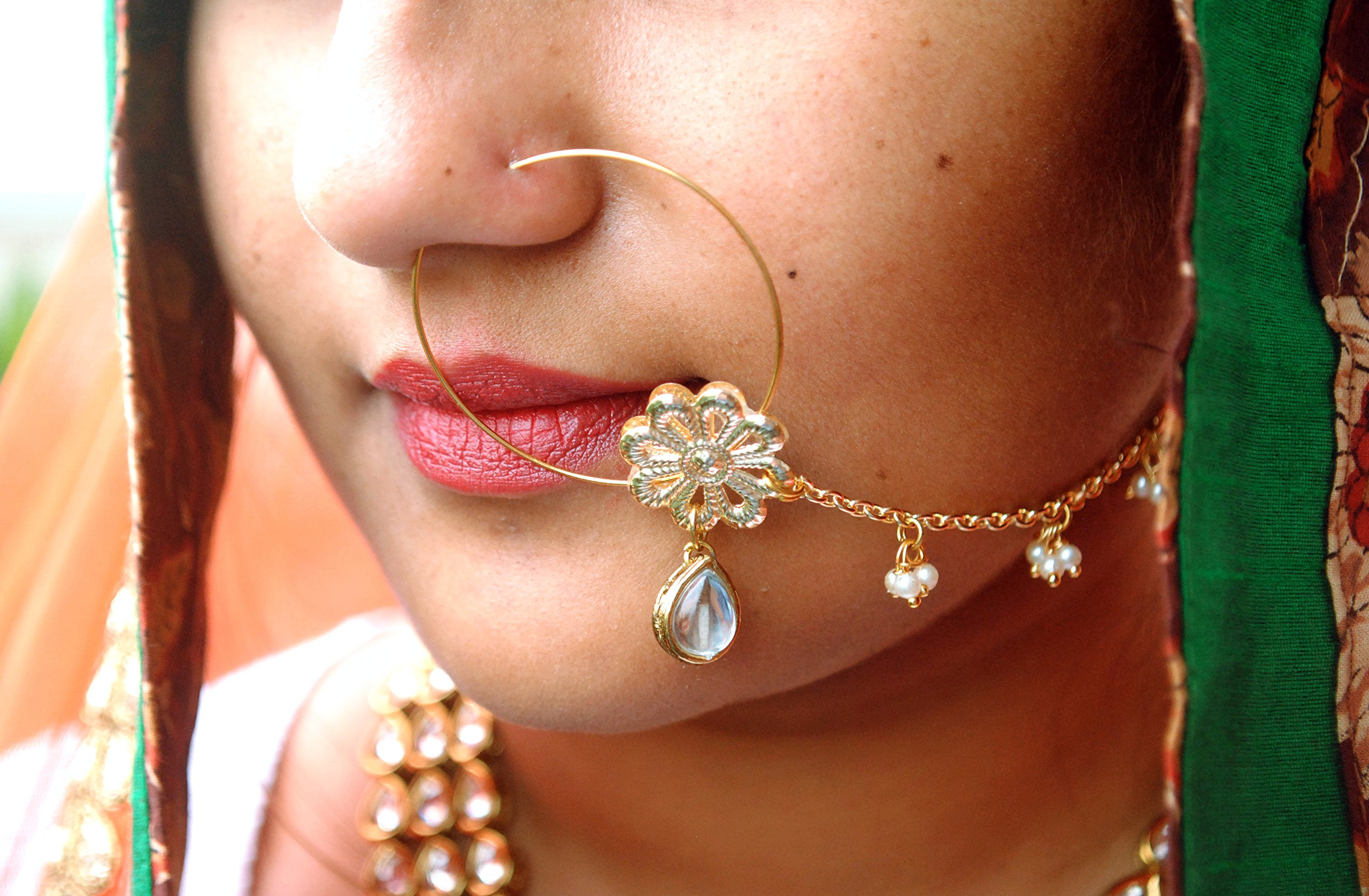 Abhika Creations White Dangling Crystal, Pearl Beaded Alloy Chain Nath, Golden Flower Traditional Indian Nose Ring