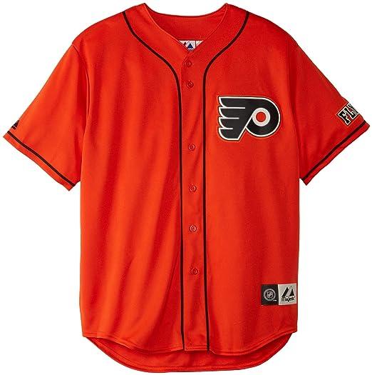 NHL Mens Philadelphia Flyers Replica Jersey Orange Black Short Sleeve  Replica Button Front Jsy By 1d8ae8cda