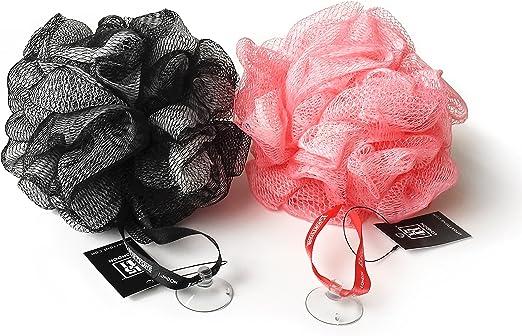 1541 London - Esponja exfoliante para baño y ducha, color negro oliva/rosa chicle: Amazon.es: Belleza