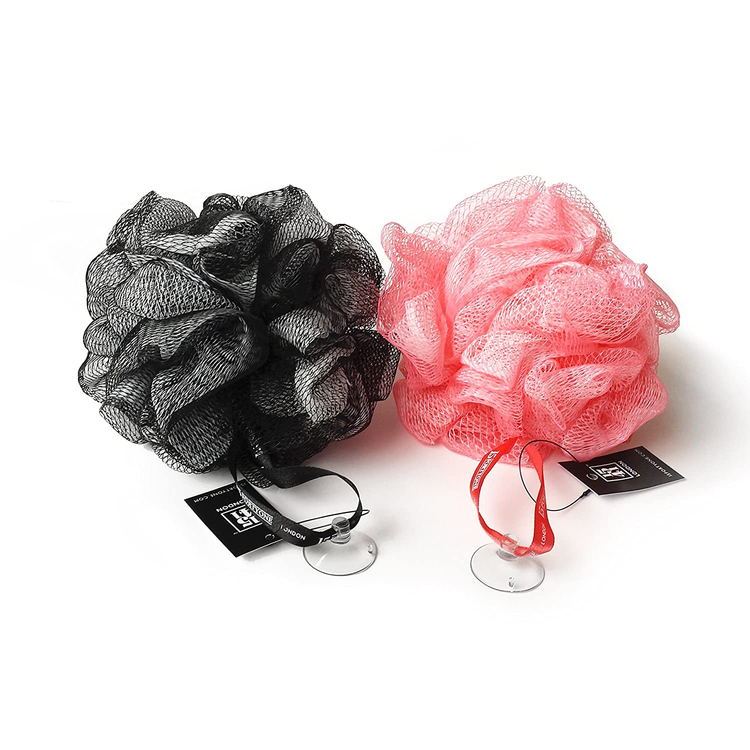 1541 London Exfoliating Bath & Shower Body Puff / Scrunchie / Buffer TWIN PACK (Olive Black / Bubblegum Pink)