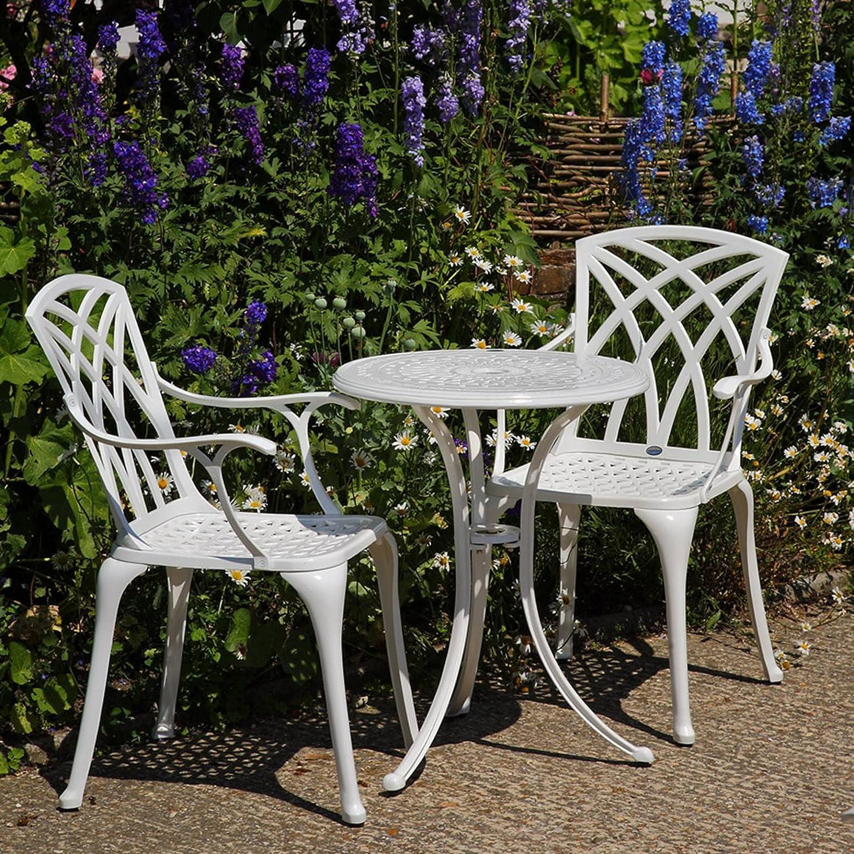 Details Zu Lazy Susan U2013 ELLA 60 Cm Bistrotisch Mit 2 Stühlen U2013 Rundes  Gartenmöbel Set Aus Metall, Weiß (APRIL Stühle)