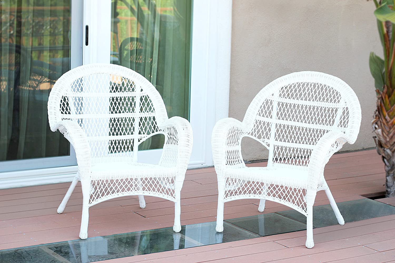 Jeco Set of 2 Wicker Chairs, White
