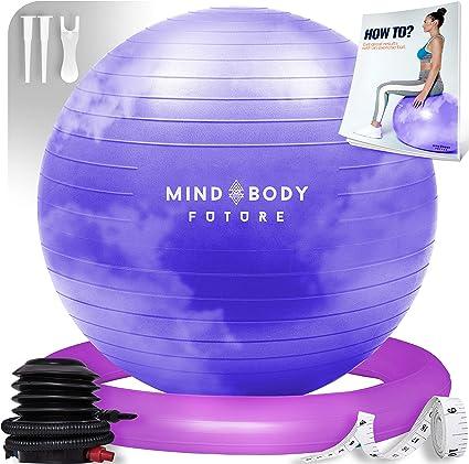 Grossesse Mind Body Future Ballon de Gym ou Swiss Ball de Gym Swiss Ball pour Pilates Antid/érapant 65 ou 75 cm Hypoallerg/énique 55 Livr/é avec Base et Pompe. Robuste Yoga Fitness