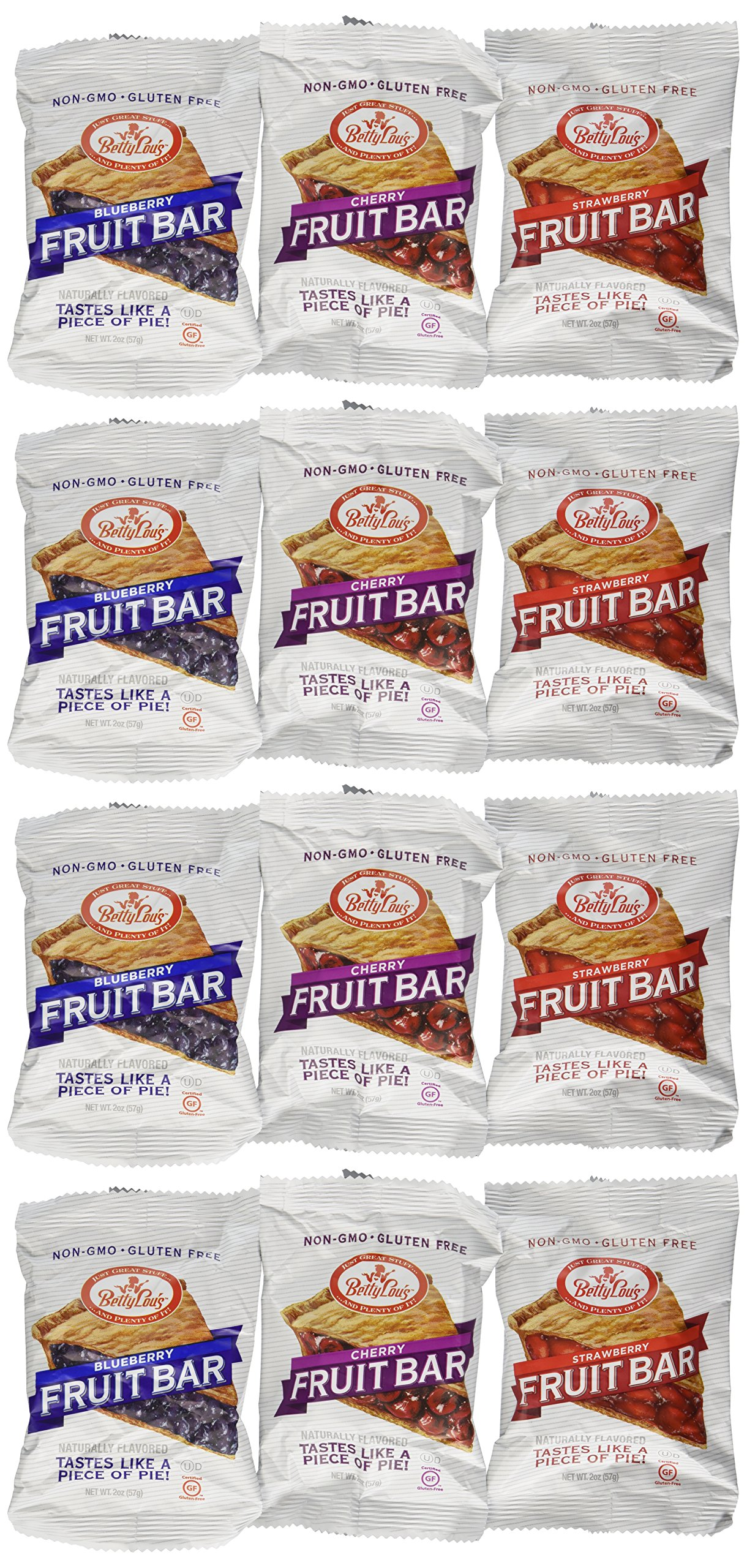 Betty Lou's Fruit Bars 3 Flavor Variety Pack (Pack of 12)