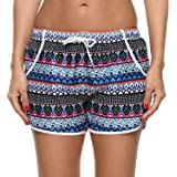 Charmo Women Printed Swimming Board Shorts Adjustable Drawstring Boyleg Beach Boardshorts Swim Bottoms