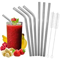 Wide Stainless Steel Smoothie Straws Set and Cleaning Brushes - Includes 3 Straight, 3 Bent Food Grade Wide Reusable Metal Straws + 2 Cleaning Brushes, Eco-Friendly