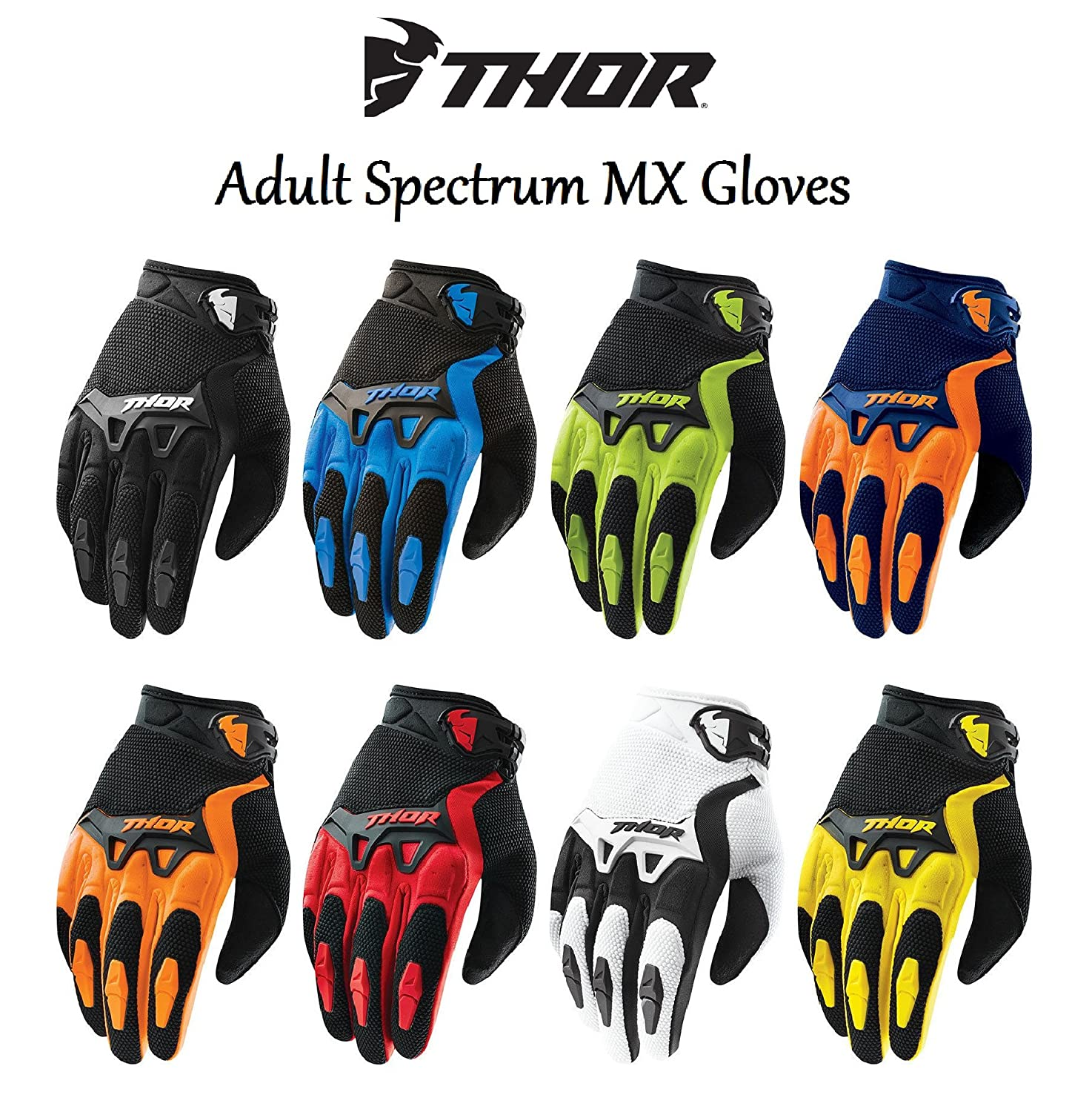 NEW 2018 ADULT MOTORBIKE MX GLOVES - THOR SPECTRUM Motocross Enduro Quad PIT Dirt-Bike ATV Racing Sports Trials MTB BMX Off Road Adult Gloves THOR GLOVES