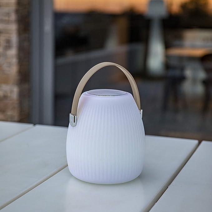 Lumisky linterna, multicolor de jardín inalámbrico sobre batería con altavoz Bluetooth Mini May Play de LED RGB 25 cm, polietileno rotomoulé, color blanco y ...