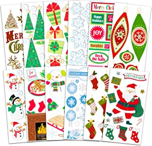 Christmas Scrapbook Sticker Set Christmas Party Decor - Bulk 12 Pack Christmas Crafts for Kids, Adults (Christmas Party Supplies)