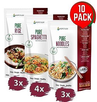 PurePasta Konjac Sin Gluten Tallarines - Arroz - Espaguetis 10 Pack * 200 g | Shirataki Con Harina Gluten Free Con La Pasta Y Arroz Contra ...