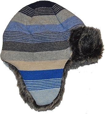 GAP Baby Boys Hat Knit GREY BURGUNDY Knitted Helmet Trapper Winter 0-24 m £9.95