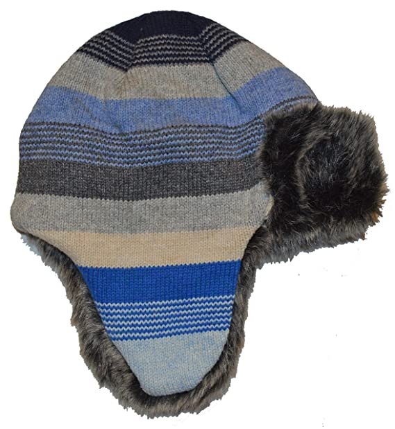 edd27d279d4 Image Unavailable. Image not available for. Color  GAP Kids Boys Blue Gray  Stripe Faux Fur Lined Trapper Hat ...