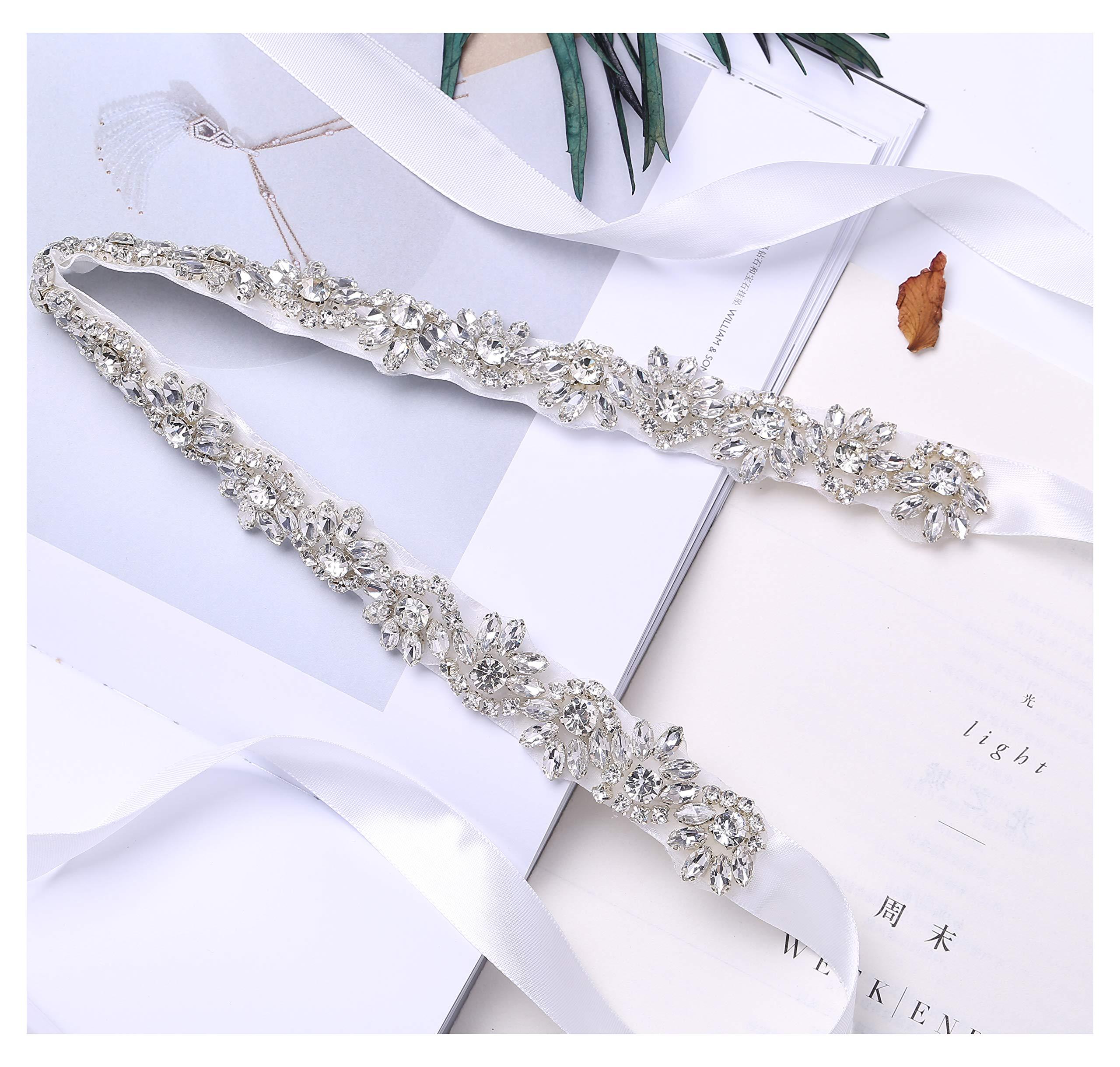 Fruit And Sun Handmade Beads Wedding Belt evening belt With Rhinestones (White)
