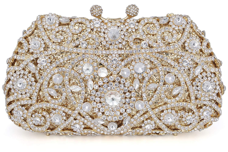 Crystal Clutch for Women Rhinestone Evening Bag (gold)