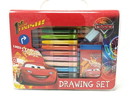 Hm Disney Cars Drawing With Colour Pens Oil Pastels And Stationery