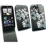Emartbuy Htc Sensation Premium Floral Schwarze Flip Case / Cover / Tasche Und Lcd Displayschutz