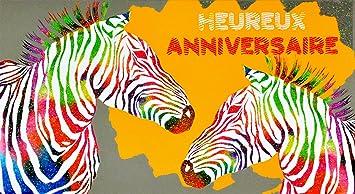Carte Anniversaire Zebre.Afie 69 4215 Carte Heureux Anniversaire Paillettes Zebre