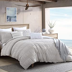 Swift Home Moselle Cotton Ruched & Waffle Weave Duvet Cover Set , Oeko-Tex Certified, Ultra Soft and Breathable, Button Closure, All Season - Warm Grey, Twin/Twin XL (68
