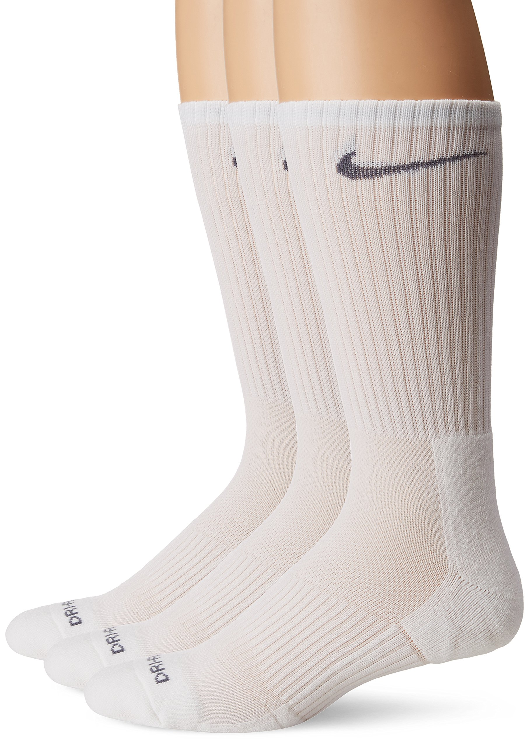 Nike Men's 3-pk Dri-fit Cushioned Crew Socks Made In USA , White , Large 8-12 by Nike