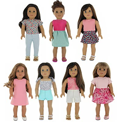 """PZAS Toys American Girl Doll Clothes Wardrobe Makeover- 7 Outfits, Fits 18"""" Doll Clothes- by"""
