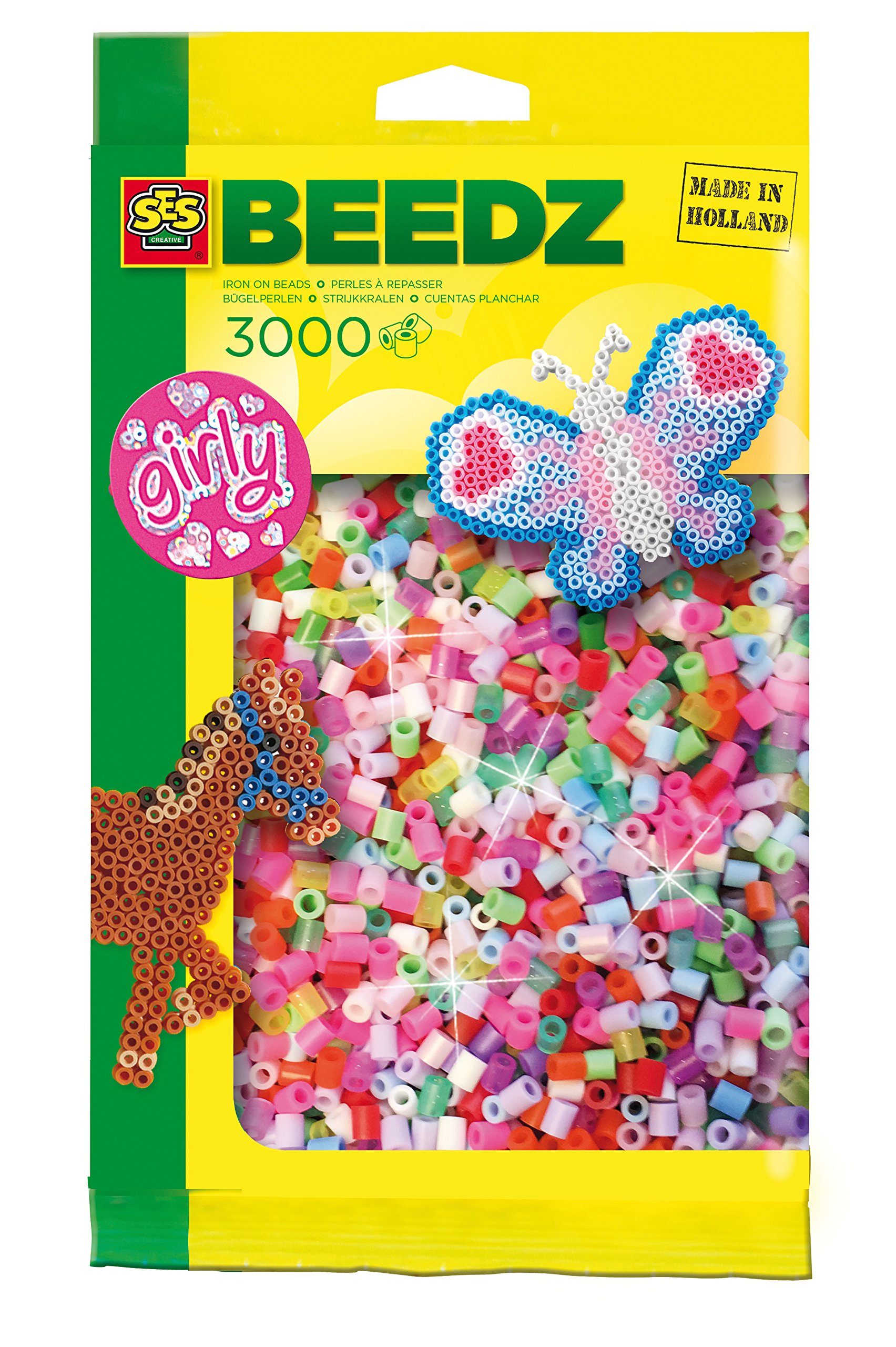 SES Creative Iron On Beads - 3000 Pc. Girly Set Arts & Crafts
