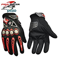 PITZO Nylon Mesh Pro Biker Fire Roller Protective Full Finger Gloves for Motorcycle, Cycling, Racing and Driving