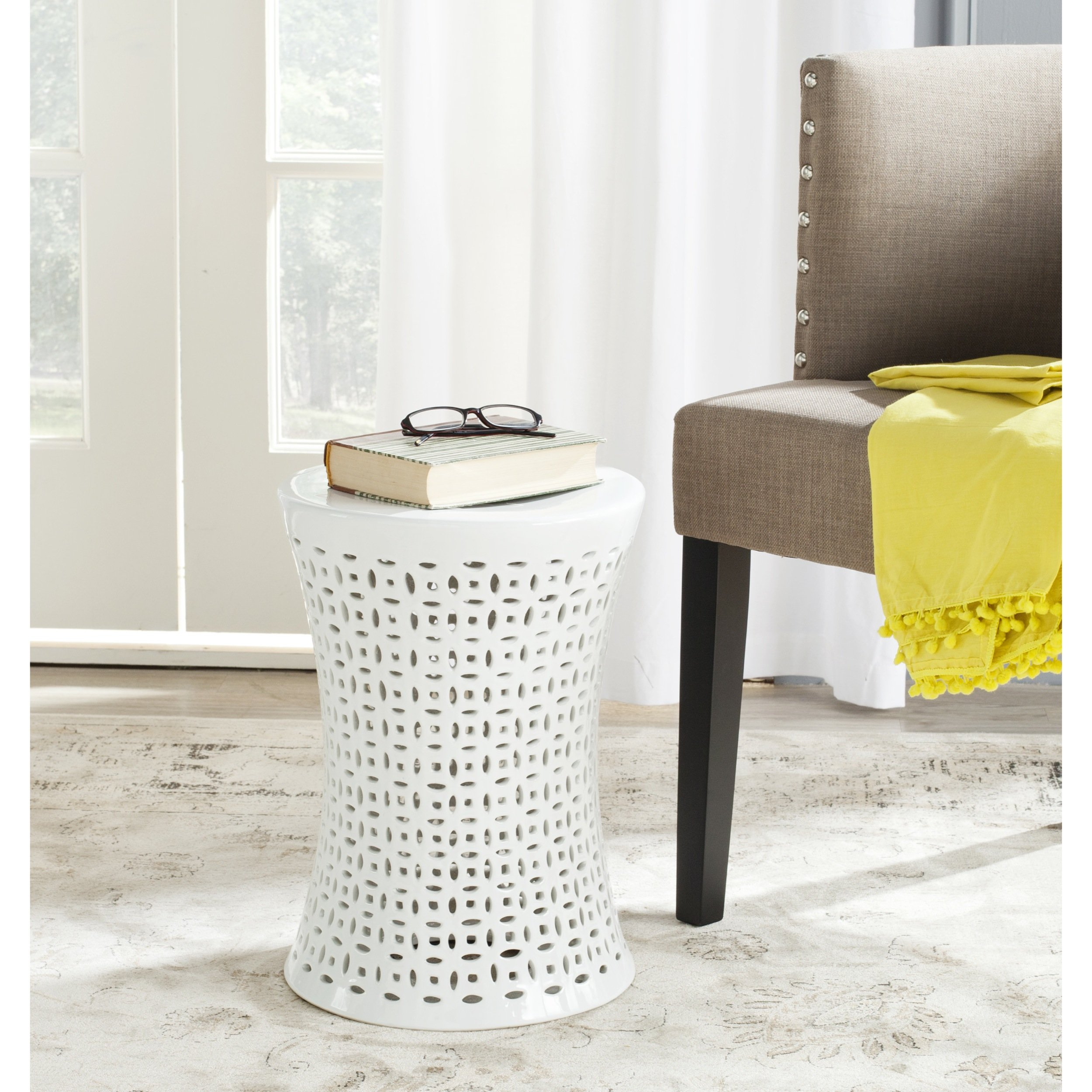 Safavieh Castle Gardens Collection Camilla White Glazed Ceramic Garden Stool