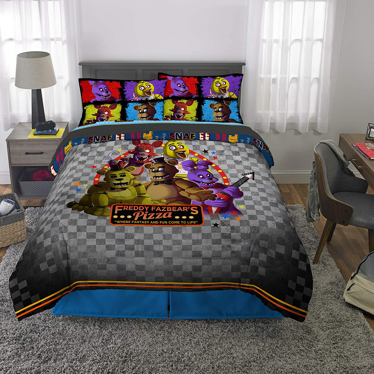 Franco Kids Bedding Super Soft Comforter and Sheet Set, 5 Piece Full Size, Five Nights at Freddy's