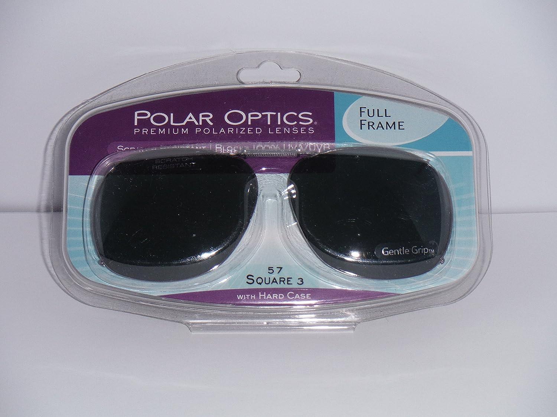 8652791a74 Amazon.com  Polar Optics 57 Square 3 Full Frame with Hard Case Polarized  Clip-on Sunglasses Gray Lenses  Health   Personal Care