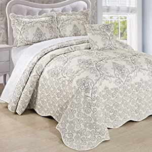Serenta Damask 4 Piece Bedspread Set, Queen, Antique White