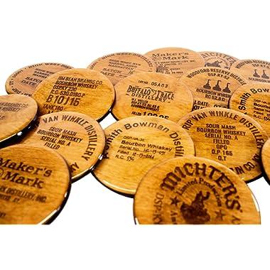 Premium Whiskey Scotch Coaster Gift Set - 8 3.5  Round Hand Made Liquor Barware Wooden Bar Decor