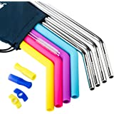 Stainless Steel Straws Set of 8,4PCS Extra Wide Metal Straws &4PCS Drinking Reusable Straws for 30 oz&20 oz Tumblers,Fits RTIC&YETI Cups,Free Cleaning Brushes&Extra Silicone Soft Tips
