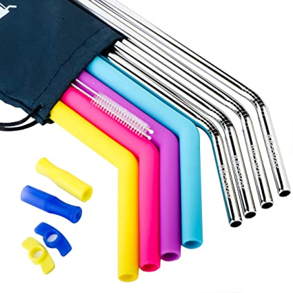 amazon com stainless steel straws set of 8 4pcs extra wide metal