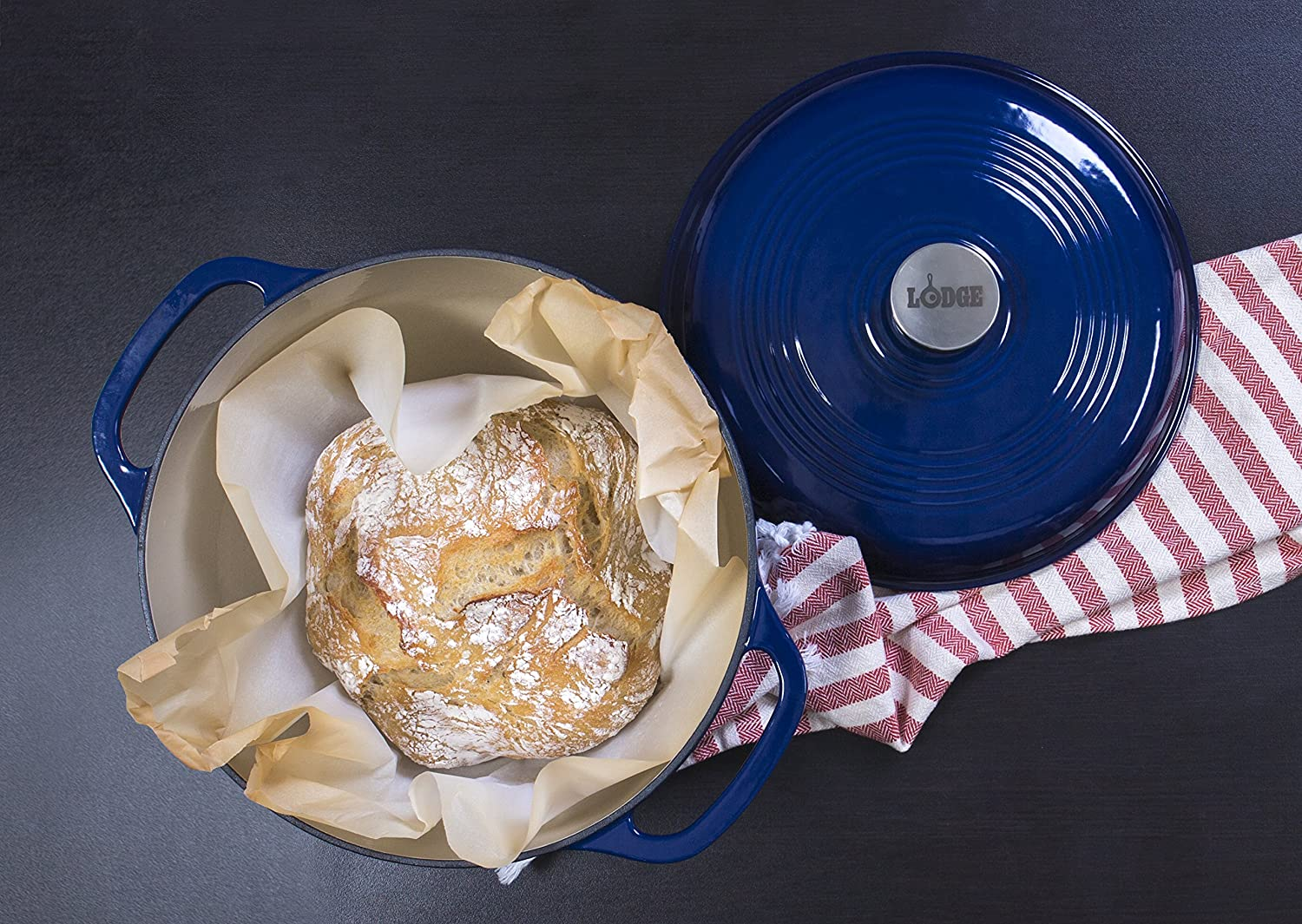 blue lodge dutch oven with baked bread