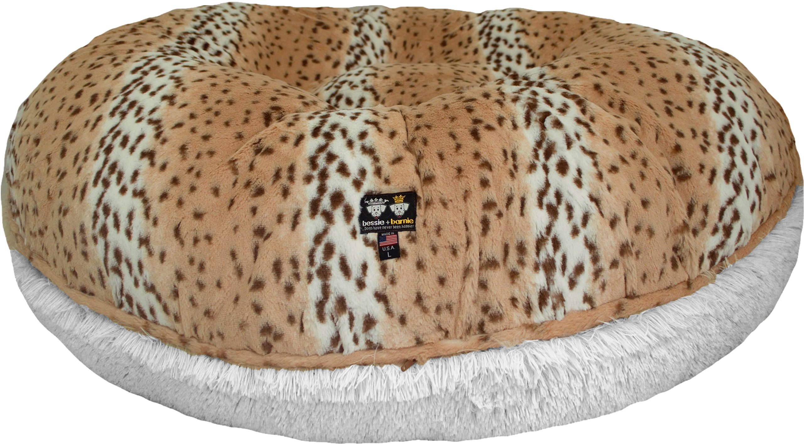 BESSIE AND BARNIE 36-Inch Bagel Bed for Pets, Medium, Snow Leopard/Snow White