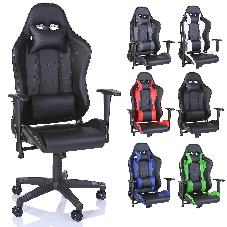 Blau TRESKO Racing Drehstuhl B/ürostuhl Sportsitz Chefsessel Gaming Stuhl 6 Farbvarianten Wippmechanik stufenlos verstellbare R/ückenlehne