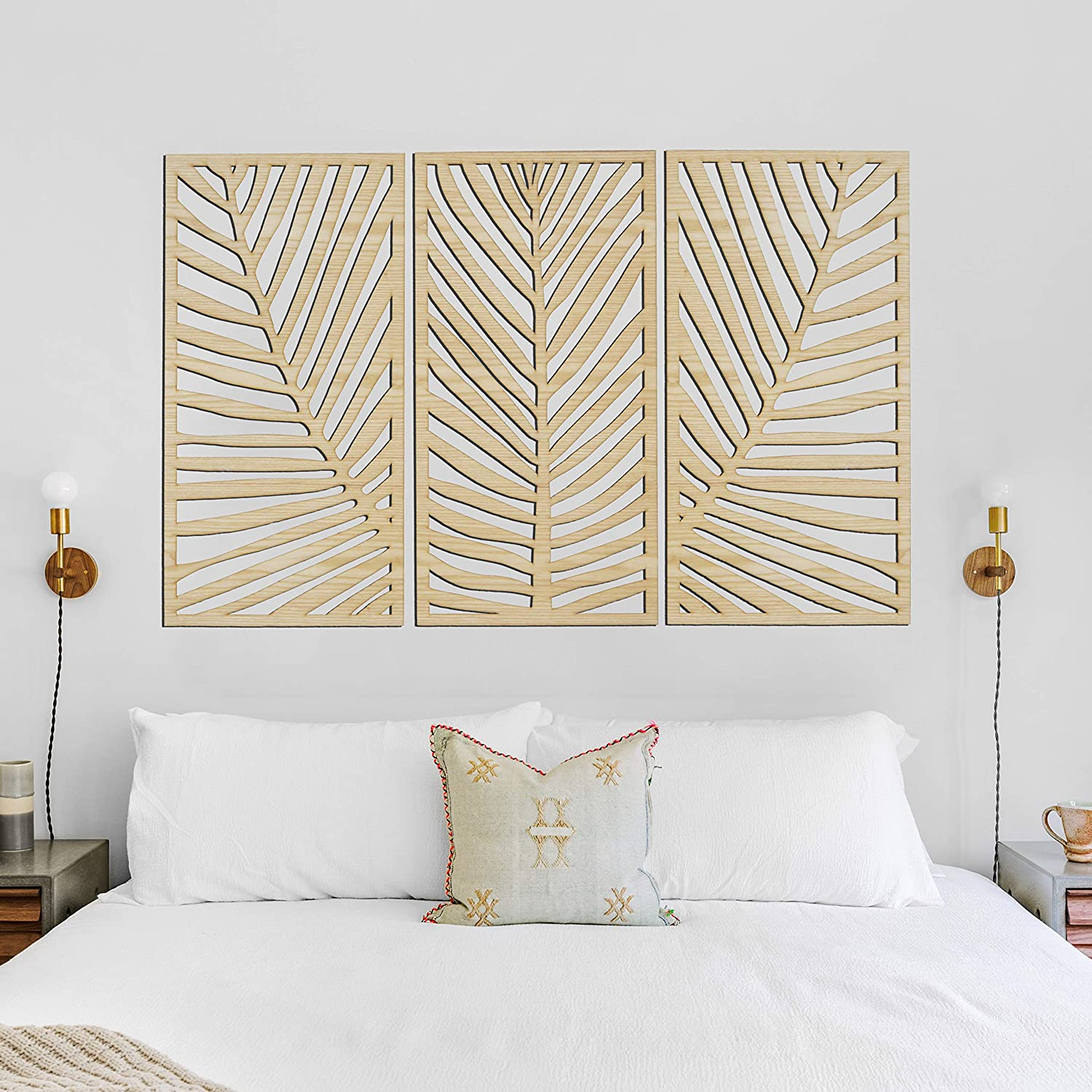 Wall decor Palm Leaves Wall Art // a Set of 3 // Wooden Living Room (L 12