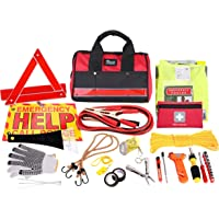 thrive roadside assistance auto emergency kit + first aid kit rugged tool bag - contains jumper cables, tools, reflective safety triangle and more. ideal winter accessory for your car or truck