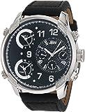 JBW - J6248LB - Montre Homme - Quartz - Analogique - Deux fuseaux horaires - Bracelet Cuir Noir