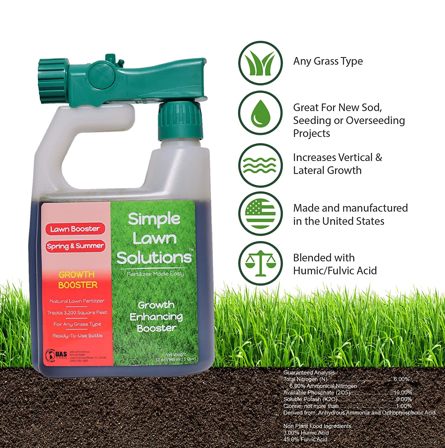 Simple Lawn Solutions Extreme Grass Growth Lawn Booster- Natural Liquid  Spray Concentrated Fertilizer with Fulvic & Humic Acid- Any Grass Type (32  oz