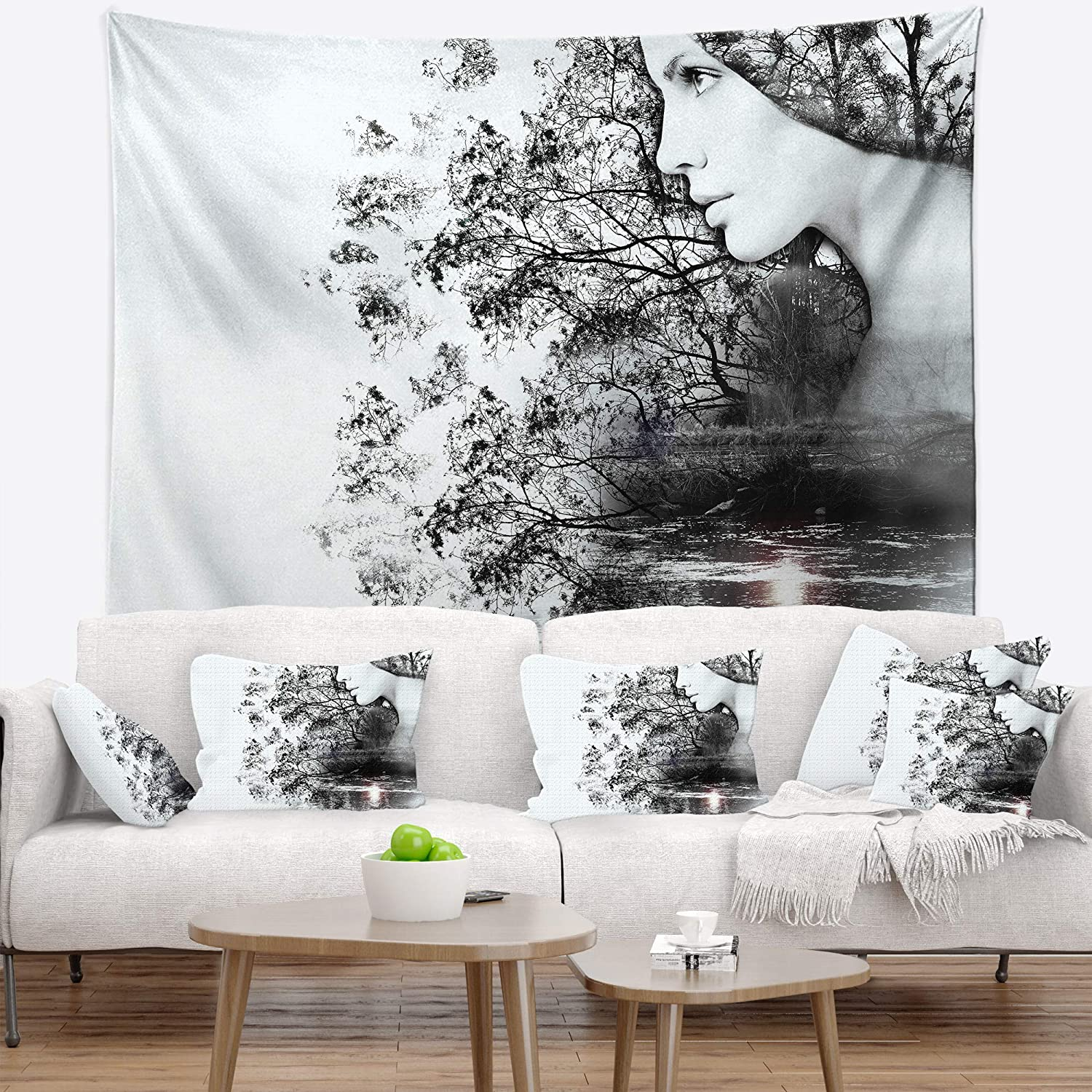 Designart TAP14316-80-68 ' Woman and Beauty of Nature' Landscape Blanket Décor Art for Home and Office Wall Tapestry x Large: 80 in. x 68 in. Created On Lightweight Polyester Fabric