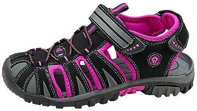 gibra Damen Trekkingsandalen, Art. 0937, Sandalen mit Klettverschluss, Schwarz/Pink, Gr. 41