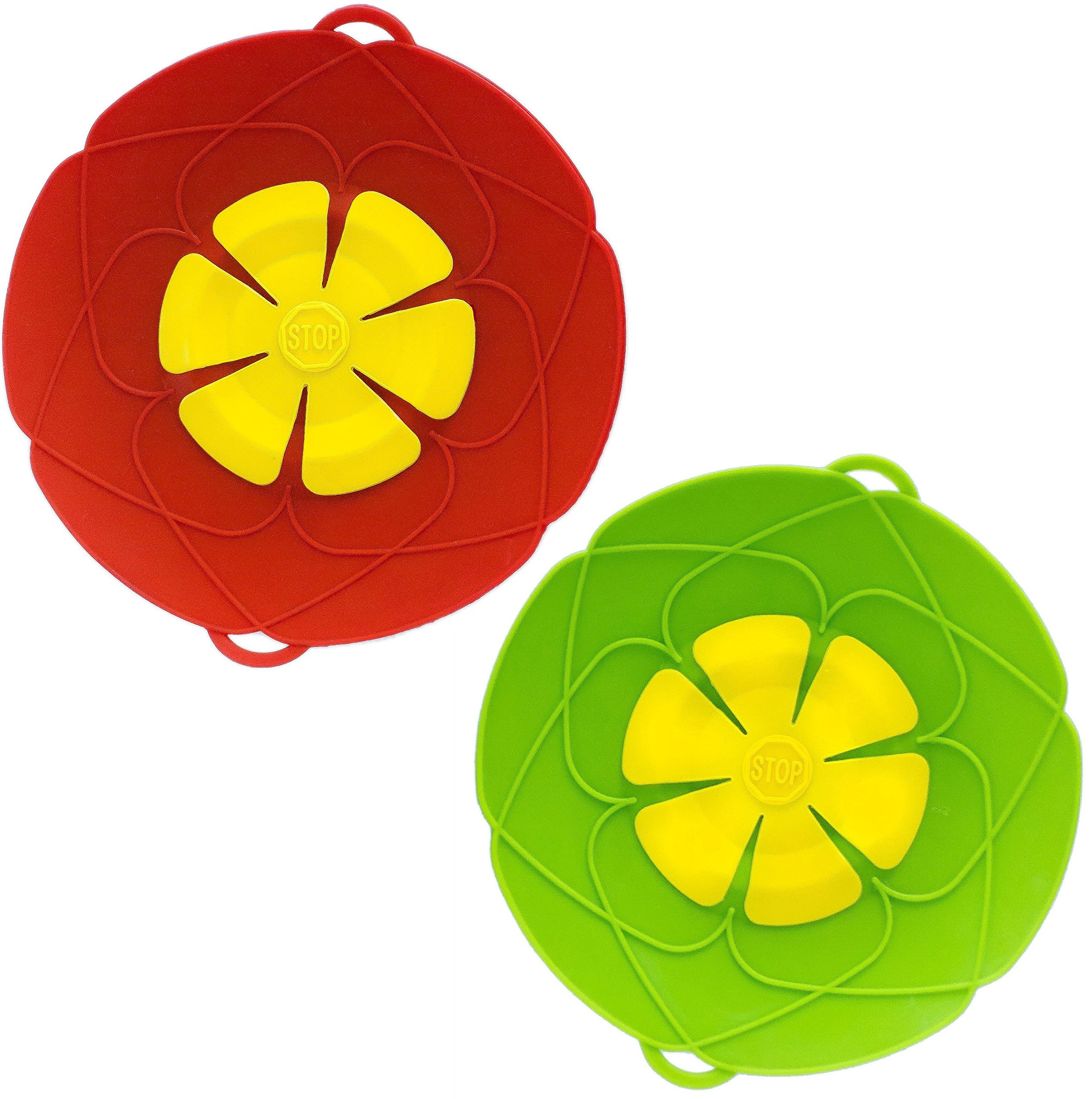 PureGenius Spill Stopper X 2, 10.2-Inch Silicone Lid for Pots And Pans, Boil-Over Stopper, Boil Safeguard, Multipurpose Kitchen Tool. (2, Red-Green)