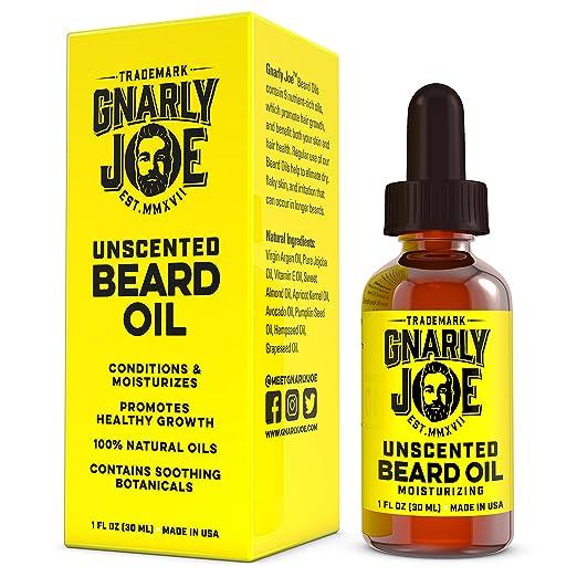 Gnarly Joe Unscented Beard Oil – 1oz | Best Argan & Jojoba Beard Oil | Natural Moisturizer, Softener & Leave-In Conditioner | For Full Beard Growth