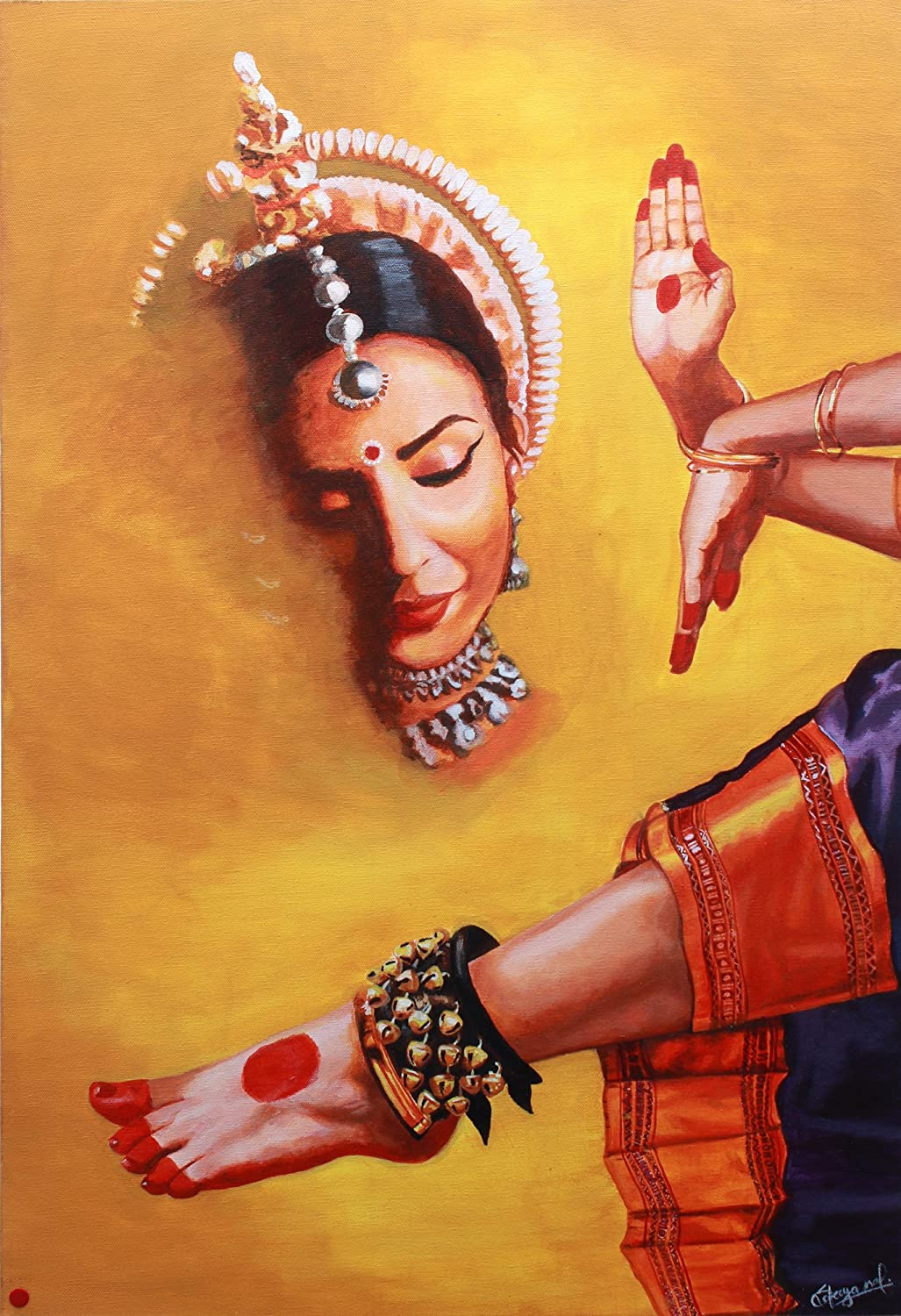Amazon Com The Beauty And Grace Of Indian Classical Kathak Dance Oil Painting On Canvas Paintings