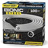 Bionic Steel 100 Foot Garden Hose 304 Stainless Steel Metal Water Hose – Super Tough & Flexible, Lightweight, Crush Resistant