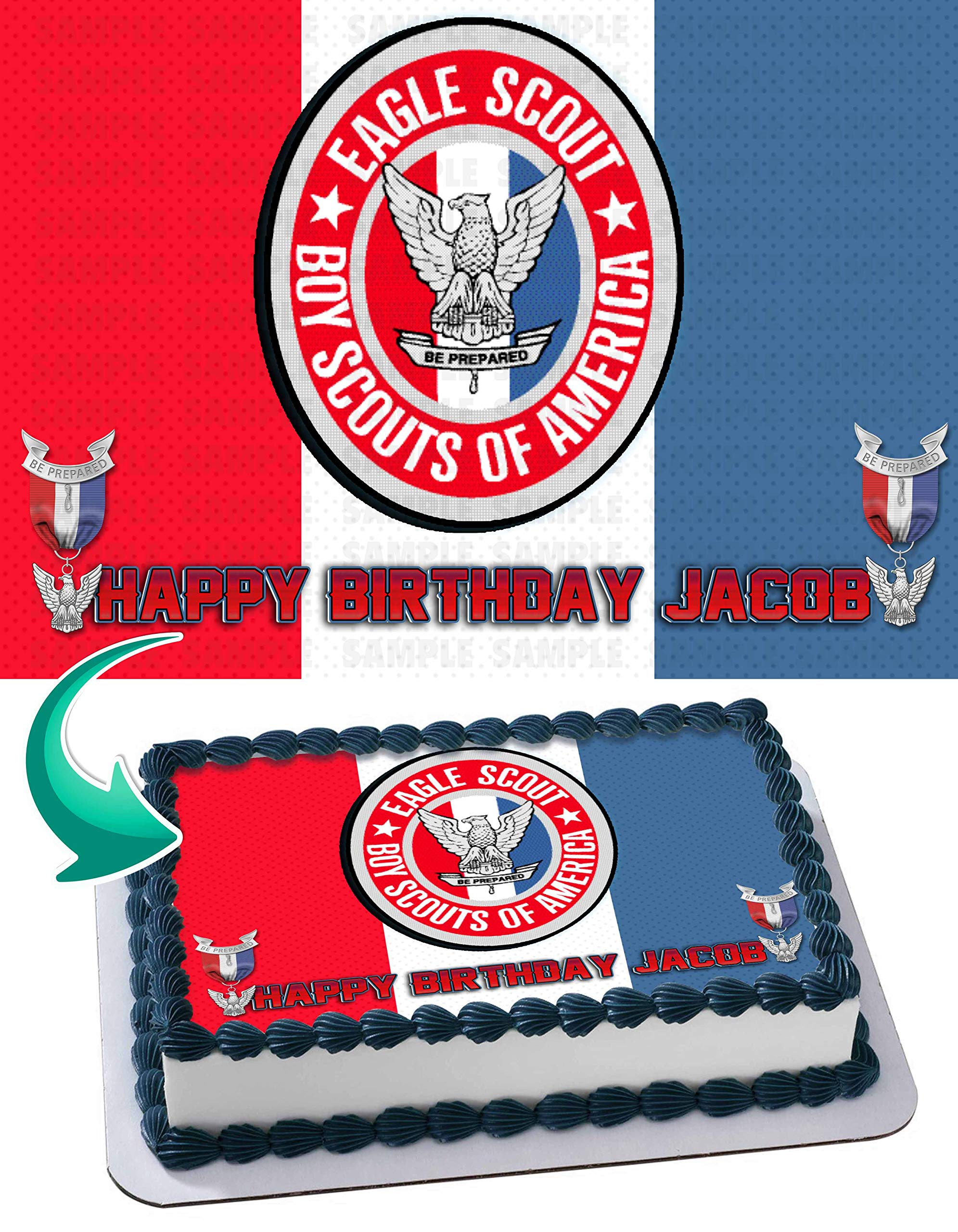 Eagle Scout Edible Cake Image Topper Personalized Birthday 1/4 Sheet Custom Sheet Party Birthday Sugar Frosting Transfer Fondant Image ~ Best Quality Edible Image for Cake