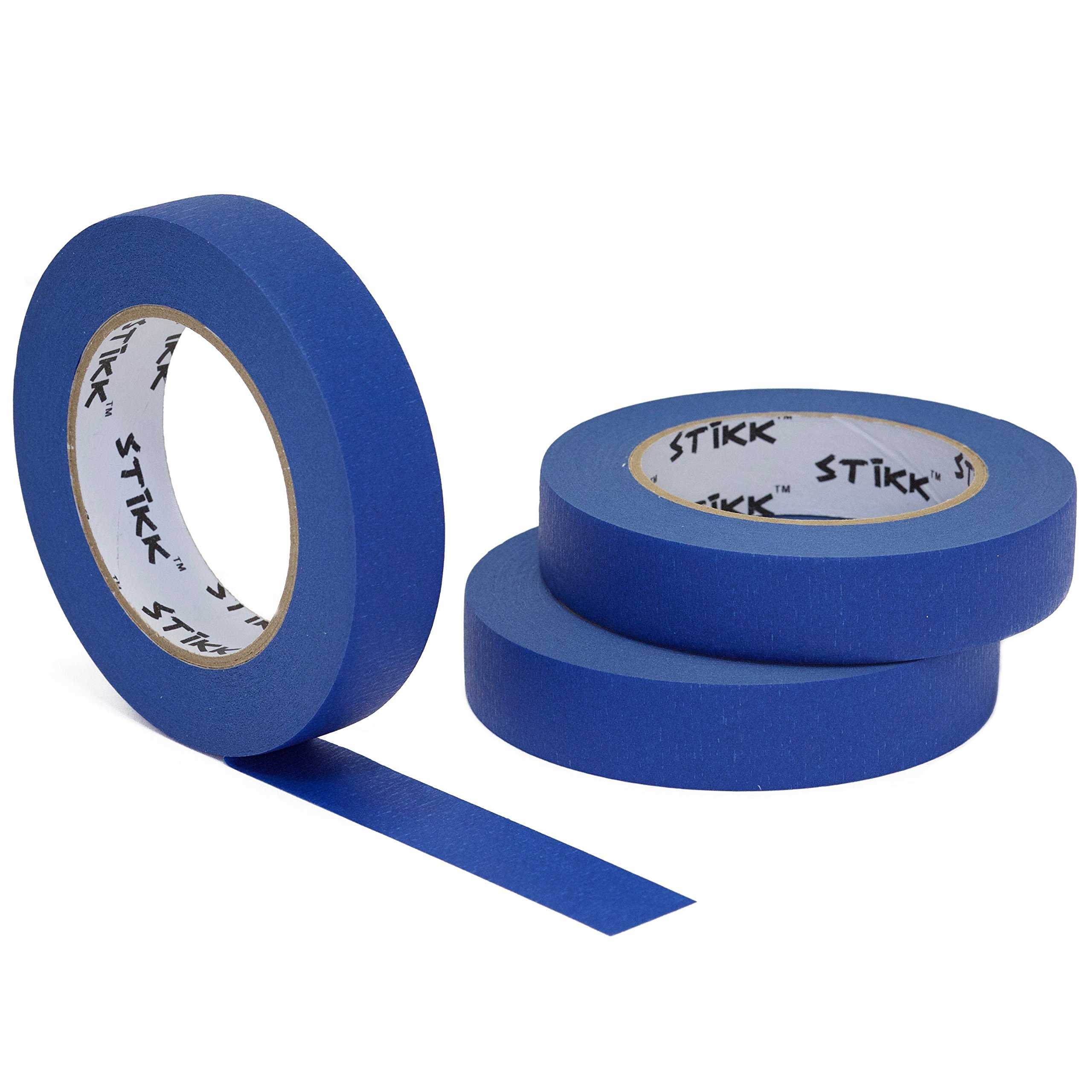 3pk 1'' x 60yd STIKK Blue Painters Tape 14 Day Clean Release Trim Edge Finishing Masking Tape (.94 in 24MM) (3 Pack) …